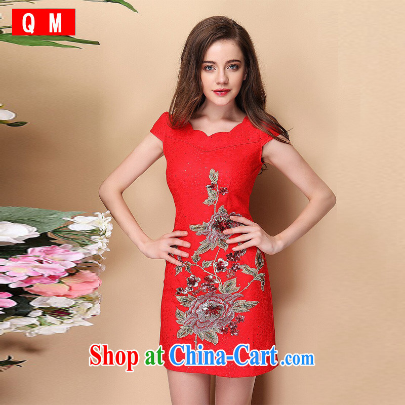 The end is very stylish and improved short-sleeved lace, embroidery cheongsam dress XWG QF 140,312 red XXL
