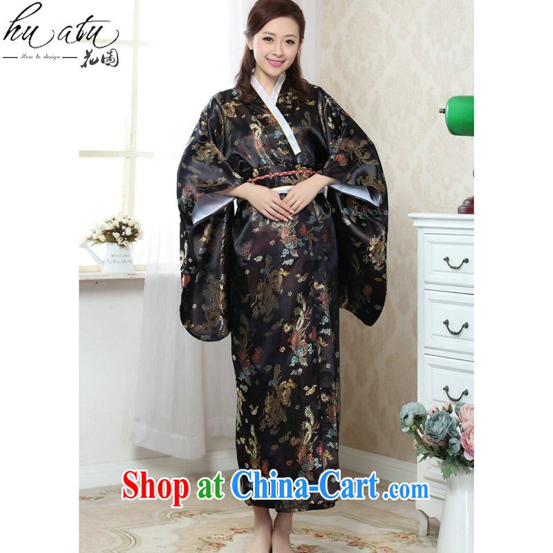 Take the kimono dress Chinese cheongsam Japan is replacing costumes Chinese improved damask Long Tang women - A black are code
