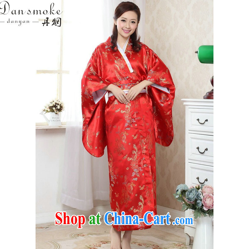 Bin Laden smoke kimono dress Chinese cheongsam Japan is replacing costumes Chinese improved damask Long Tang women - C red are code