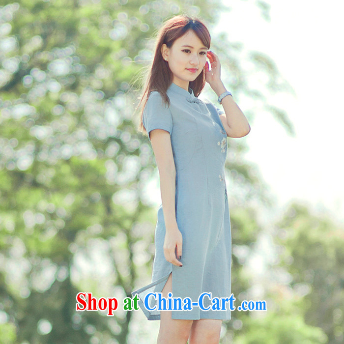 Lara lemon Original Design China wind 10,323 Ethnic Wind female short-sleeved hand-painted improved cheongsam retro light blue - pre-sale 15 days Shipment S