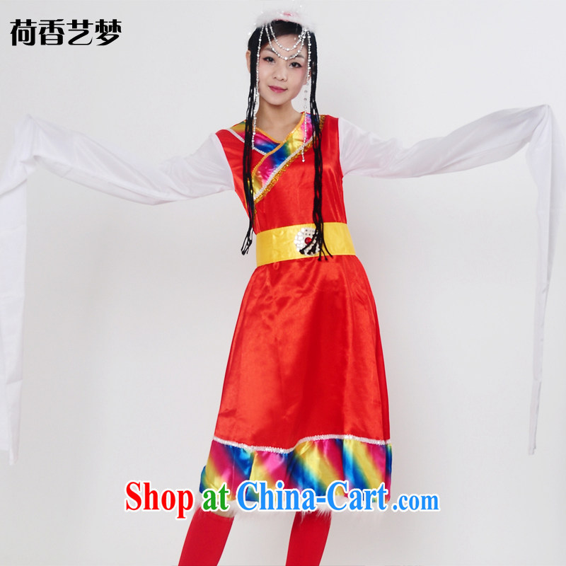 I should be grateful if you would arrange for Performing Arts Hong Kong dream Tibetan dance Yangge dress uniform national fashion show clothing Tibetan water cuff service performance stage costumes HXYM 0049 red M