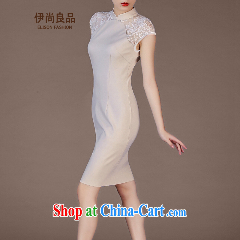Iraq is still good, Mr Ronald ARCULLI, lace short-sleeved beauty dresses Western big with improved OL cheongsam apricot L