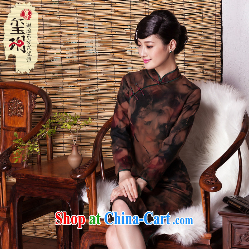 Yin Yue seal 2015 retro long-sleeved fragrant cloud yarn cheongsam ethnic wind improved fall and winter thick 7 Ms. cuff cheongsam picture color M