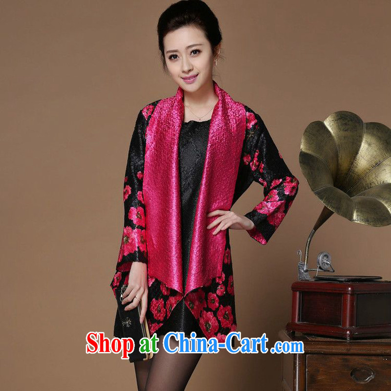 Forest narcissus spring 2015 the new has been hard-pressed floral middle-aged and older Chinese mother with cheongsam short jacket, female XYY - 8505 the red XXL