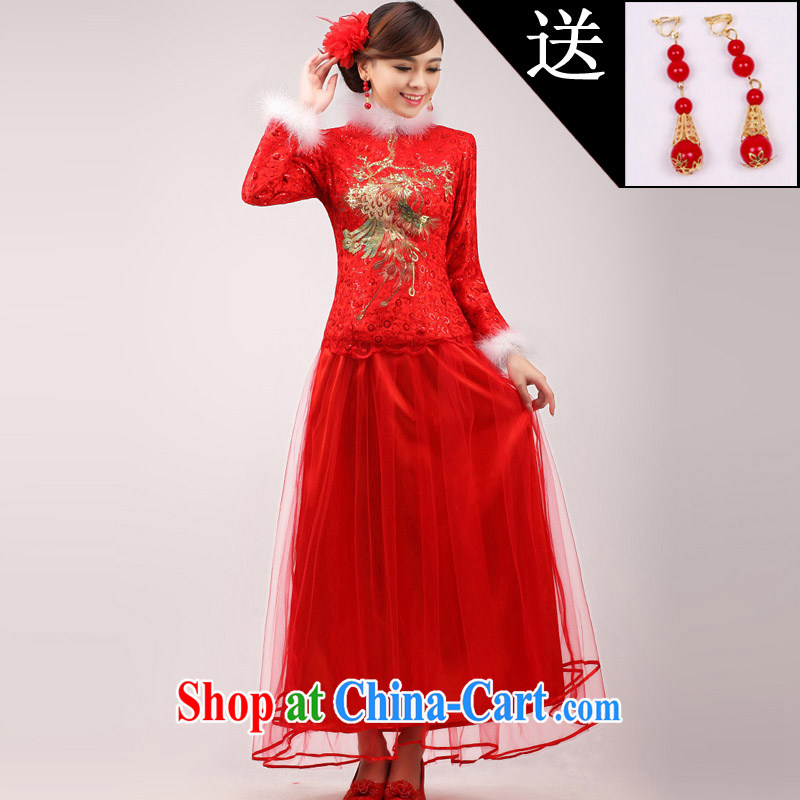 Getting married is really love bridal wedding dresses 2015 new stylish Chinese improved bows clothes red long, long-sleeved gown winter clothing female white hair XL