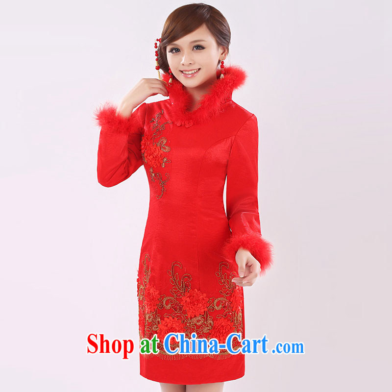 married love bridal toast service 2015 New red long-sleeved wedding dresses stylish improved cheongsam graphics thin winter female Red XXL