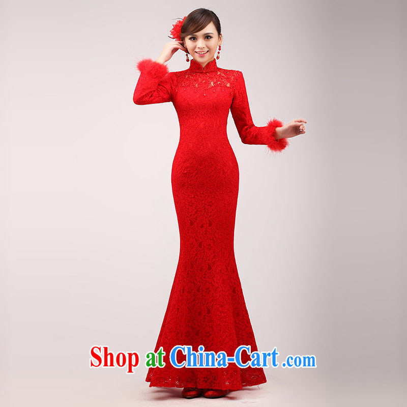 married love bridal toast service 2015 stylish new red wedding dress Chinese improved duration, crowsfoot dresses winter red XL