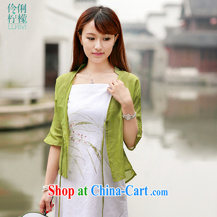 Lara lemon China wind 30,106 original design art van retro female pure ramie jacket ethnic wind Green - pre-sale 15 days Shipment L
