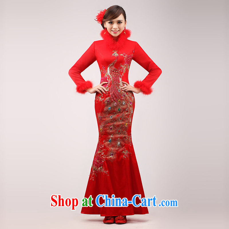 Marriages served toast 2015 new stylish red long-sleeved long dress Chinese improved cheongsam winter clothing female Red XL