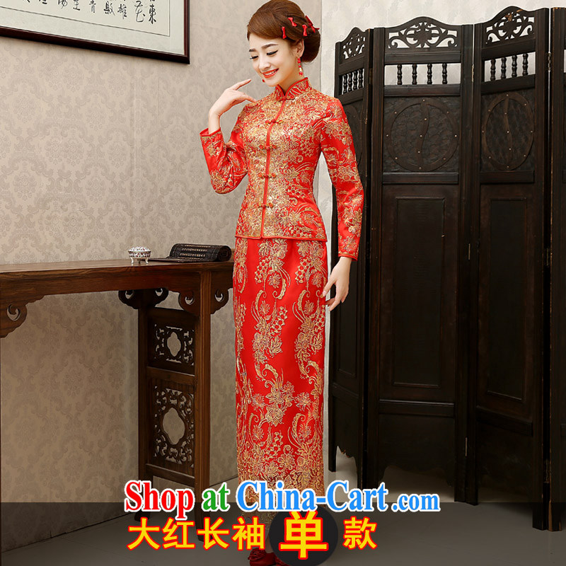 marriage really love toast Service Bridal 2015 new Chinese wedding dresses, long-serving reel long-sleeved dresses Phoenix winter use the red single paragraph XL