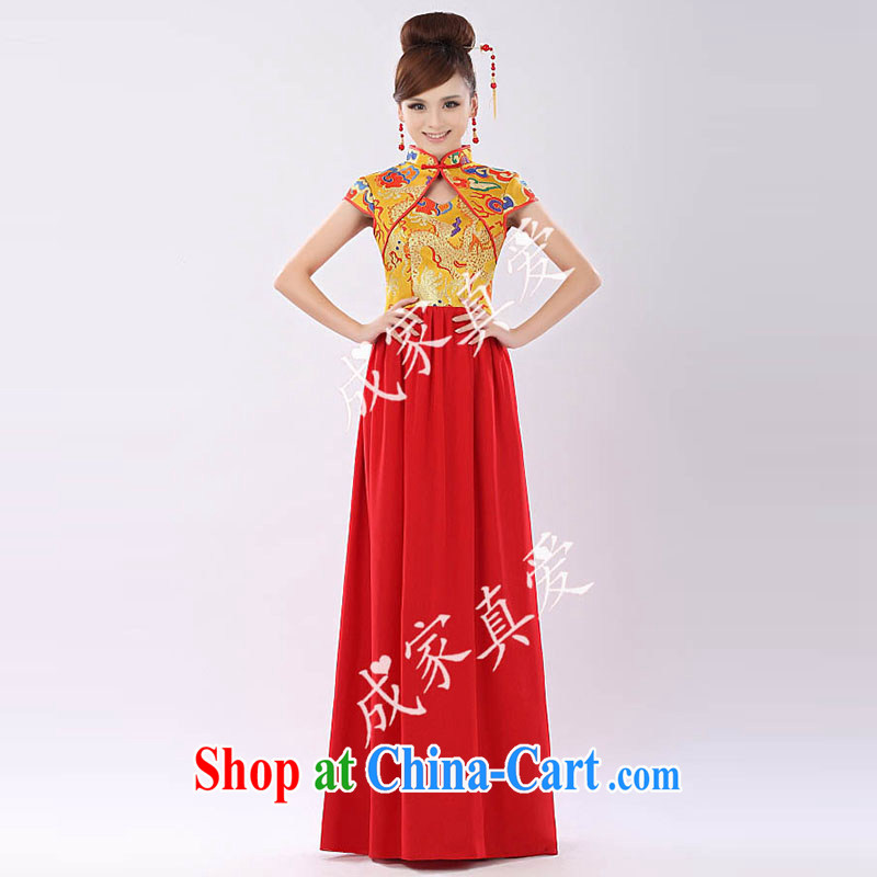 married love toast clothing dresses 2015 New Long high-waist bridal wedding dress evening dress short performances annual cheongsam long yellow XL