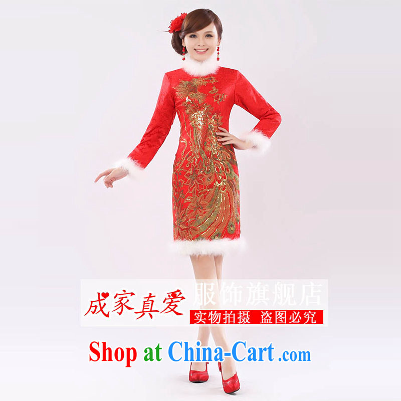 Getting married is really love marriages served toast 2014 new stylish retro long-sleeved short high-waist pregnant women cheongsam dress winter clothing female Red XL