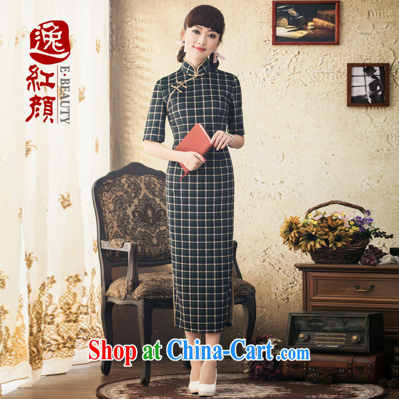 once and for all stream fatally jealous Zhu new cuff in long day dresses winter clothes stylish Korea improved cheongsam retro skirt Diane green 2 XL