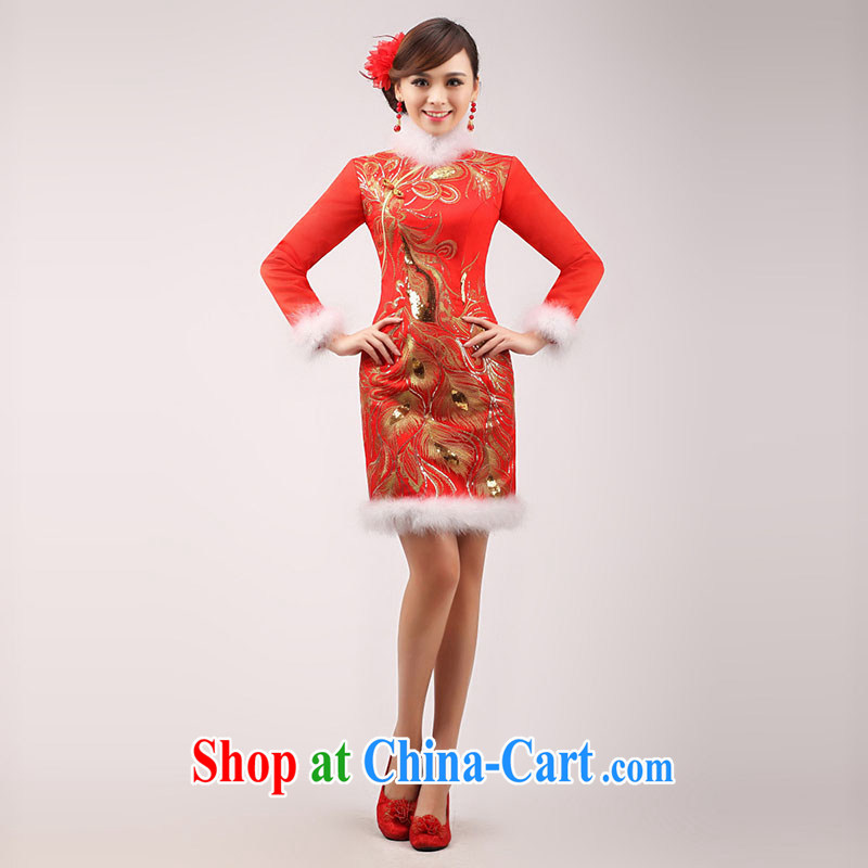 married love marriages served toast winter 2015 new stylish dress red improved cheongsam long-sleeved short winter clothing female white hair XXL
