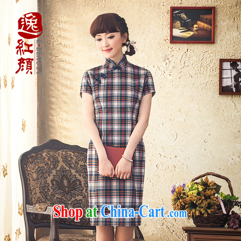 once and for all and without wind flow with high-end retro short cheongsam winter clothes and stylish everyday dresses skirts improved 2015 new drapery color 2 XL