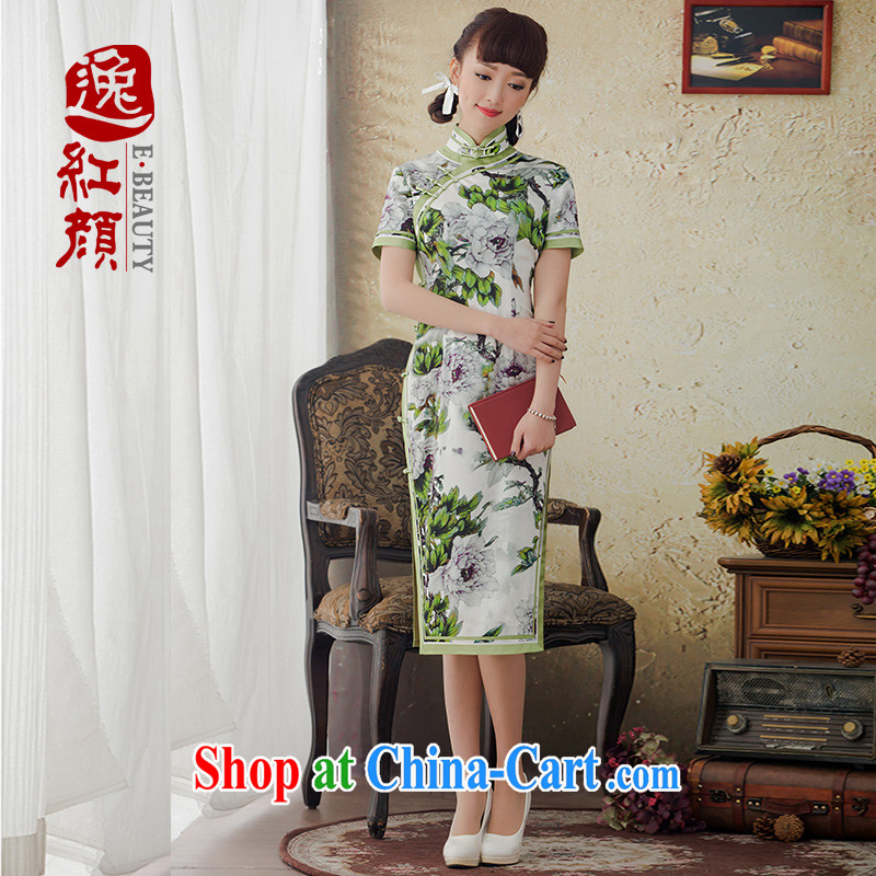 Once the proverbial hero high-silk, long new cheongsam dress winter clothes improved sauna Korea Silk Cheongsam retro green XL