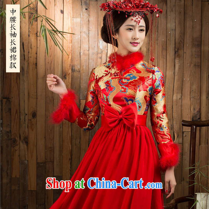 2014 winter clothes bridal gown long-sleeved long dresses red wedding bridal toast winter dresses cheongsam dress with waist, long-sleeved long skirt style Concept notes
