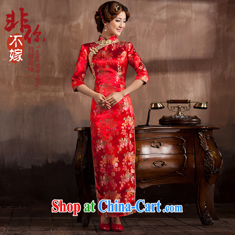 2014 new bridal dresses Chinese Antique wedding 7 sub-cuff toast wedding service long gown beauty female Red 2 XL