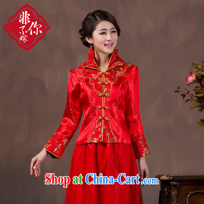 Non-you don't marry toast winter clothes bridal 2014 red wedding dresses fall long-sleeved dress long, 9 cuff, Thicken the style Concept notes