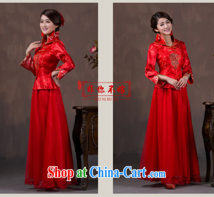 Autumn and the long-sleeved bridal dresses wedding toast winter clothes improved Chinese long stylish wedding dress red 7 sub-cuff style take note pictures, price, brand platters! Elections are good character, the national distribution, so why buy now enjoy more preferential! Health