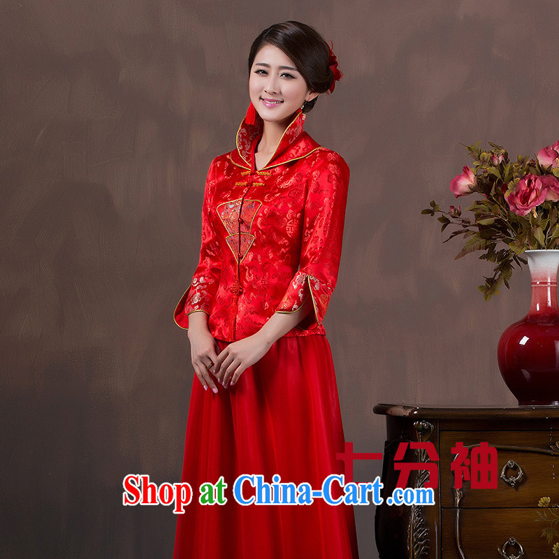 Autumn and the long-sleeved bridal dresses wedding toast winter clothes improved Chinese long stylish wedding dress red 7 sub-cuff style take note