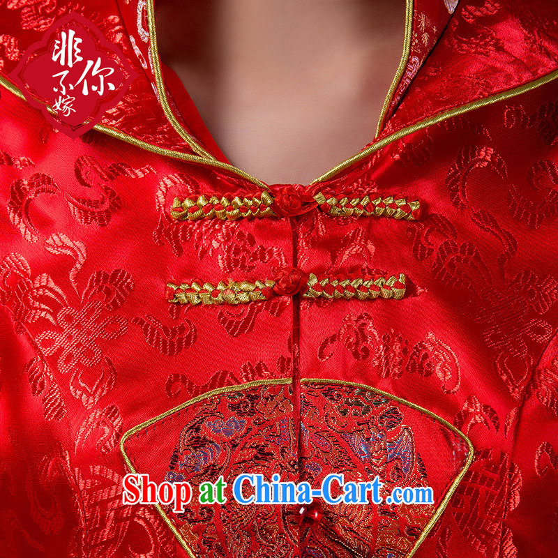Autumn and the long-sleeved bridal dresses wedding toast winter clothes improved Chinese long stylish wedding dress red 7 sub-cuff style take note, non-you are not married, and shopping on the Internet
