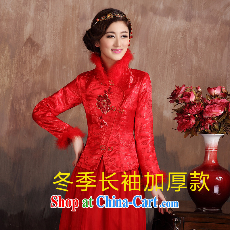 Autumn wedding dresses serving toast long dress Chinese brides red retro style wedding the cheongsam dress code long-sleeved winter style, the note
