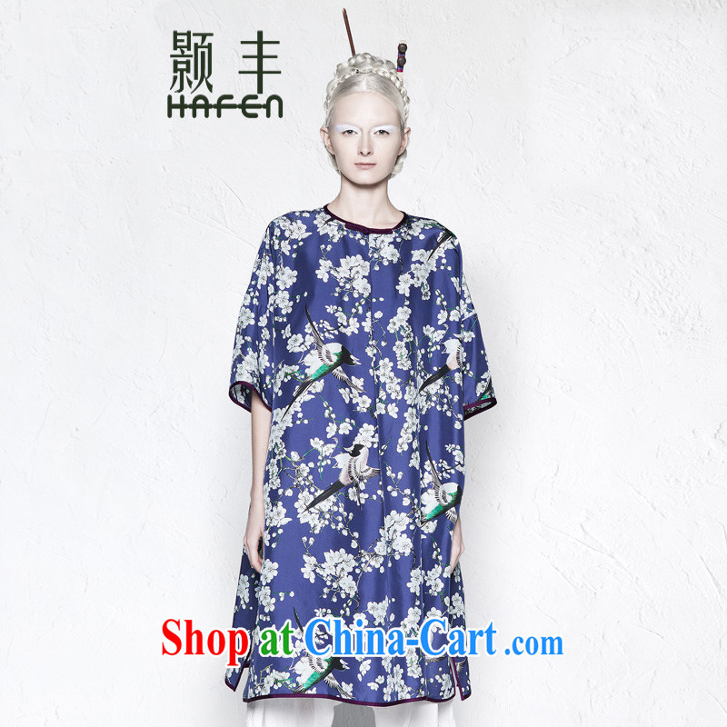 Xiangxi Fung spring and summer original antique floral silk dress 2015 ladies new, long sauna Silk Cheongsam dress porcelain _stamp M