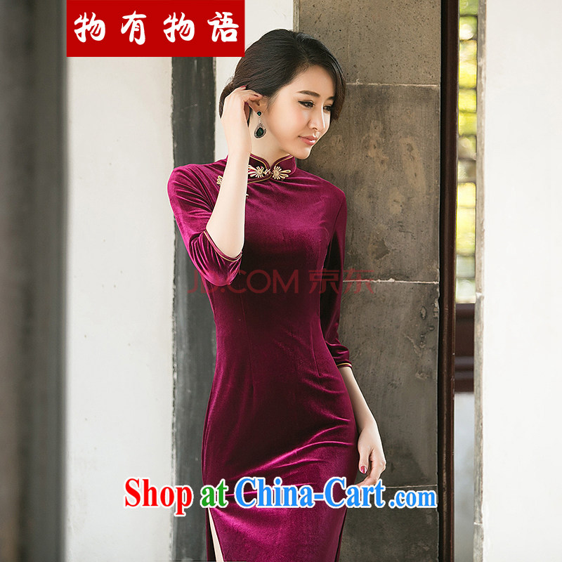 A property, 2015 spring new long cheongsam high on the truck sexy female daily improved stylish dress show 7 sub-cuff velvet cheongsam dress red M