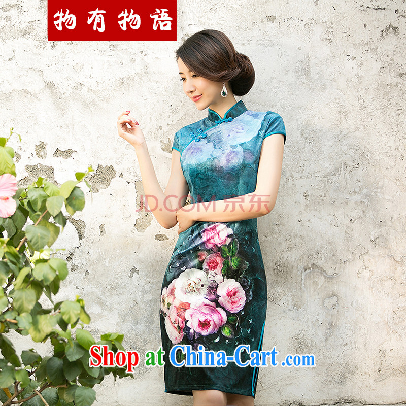Property is property, 2015 New National wind girls with the velvet cheongsam beauty skirt stylish improved retro poster dresses light blue L