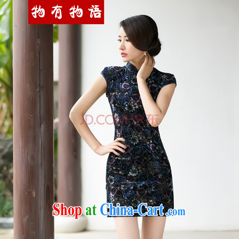 A Chinese Spring 2015 New boutique girls velvet dresses beauty skirt stylish improved retro short sleeve cheongsam blue XXL