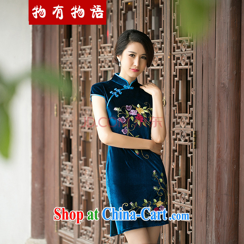 A Chinese Spring 2015 New Style embroidered cheongsam improved stylish retro Daily Beauty and elegant velvet cheongsam light blue M