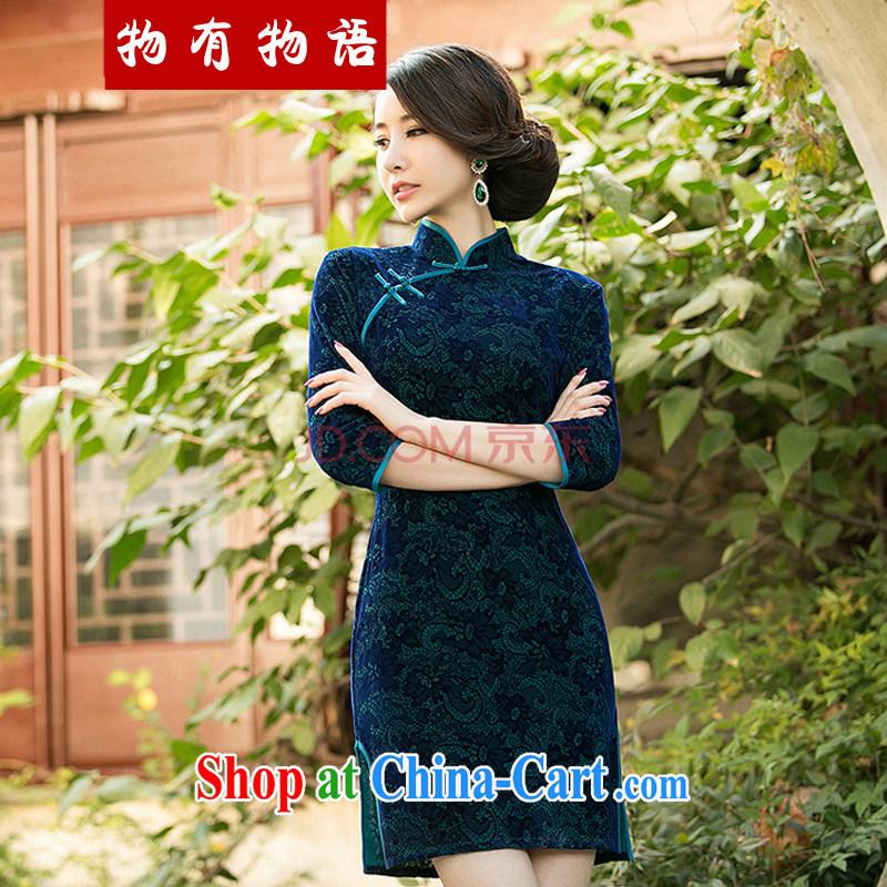Property is property, 2015 New National wind girls with the velvet cheongsam beauty skirt stylish improved retro short cheongsam green L