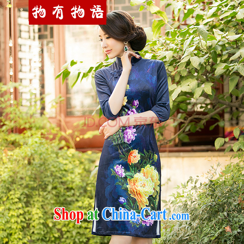 Property is property, 2015 New National wind girls with the velvet cheongsam beauty skirt stylish improved retro short cheongsam blue XXL