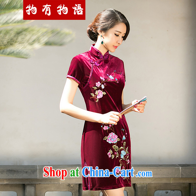 A Chinese Spring 2015 new Stylish retro color embroidered cheongsam Daily Beauty style wool short cheongsam dress red XXL