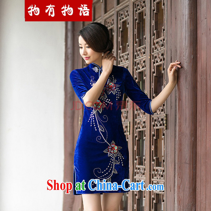 A property, new style 2015 spring loaded pin Pearl improved cheongsam Stylish retro Daily Beauty in elegant cuff velvet cheongsam Po blue XXL