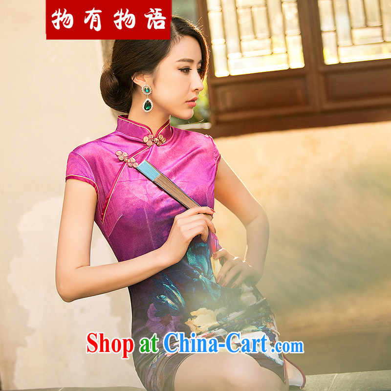 A property, 2015 new gold velour cheongsam dress Autumn with improved stylish short-sleeve retro style girl cheongsam dress, short of red XXL