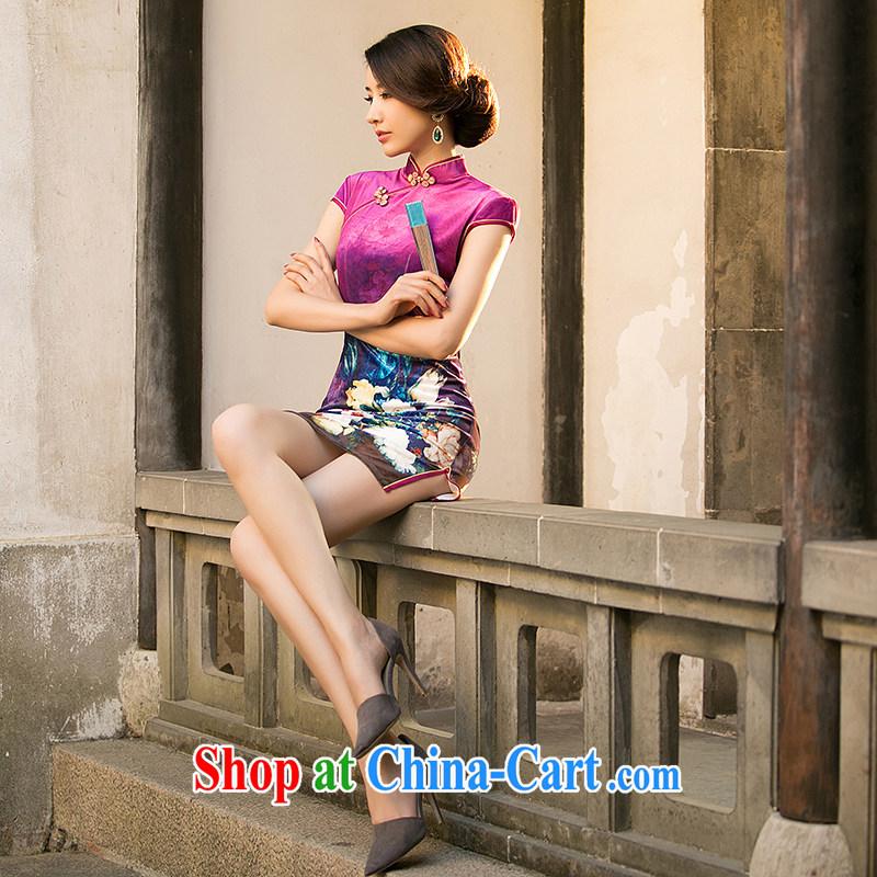 A property, 2015 new gold velour cheongsam dress Autumn with improved stylish short-sleeve retro style girl cheongsam dress, short of red XXL, property, language (wuyouwuyu), online shopping