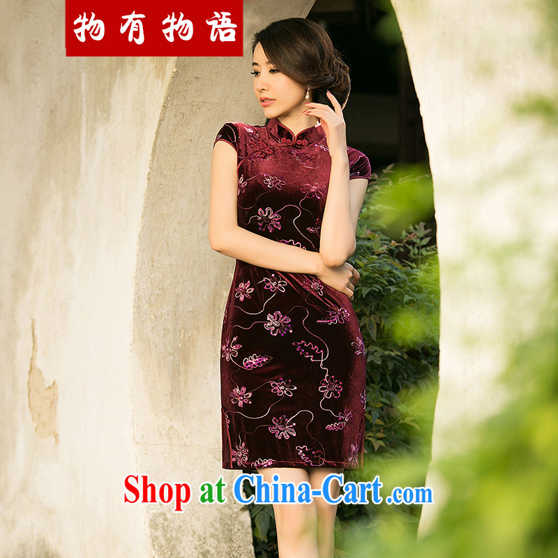 Property is property, 2015 New National wind girls with the velvet cheongsam beauty skirt stylish improved retro short cheongsam maroon XXL