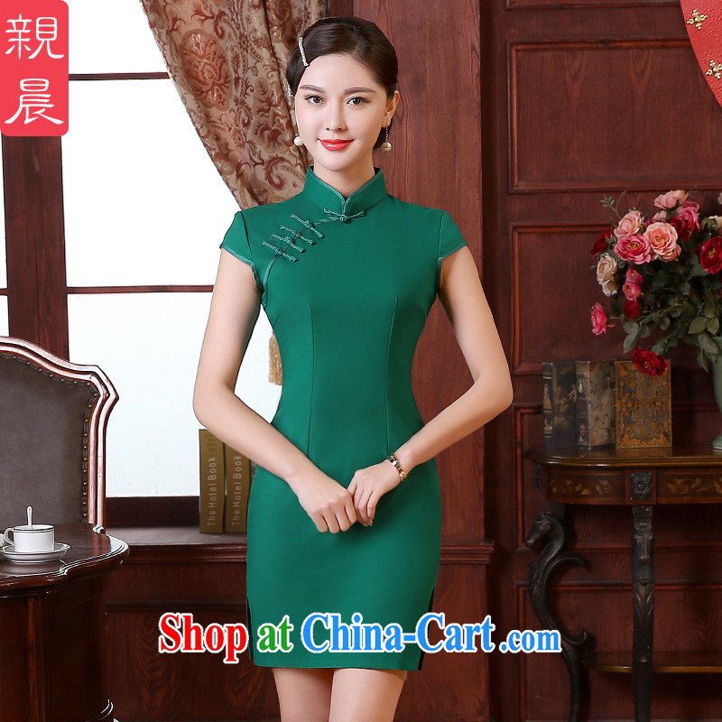 The pro-am 2015 as soon as possible new spring loaded daily traditional retro improved stylish short style cheongsam dress Short M - waist 70 CM
