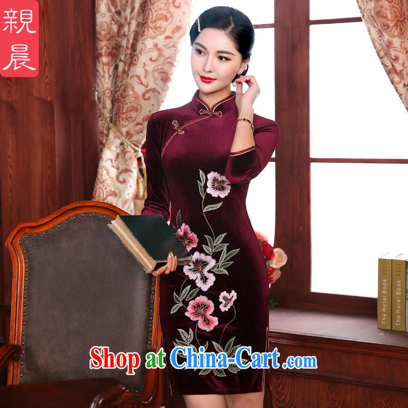 The pro-am 2015 as soon as possible new daily spring decor, Retro wedding banquet, older mothers with dresses cheongsam short 2 XL - waist 80 CM