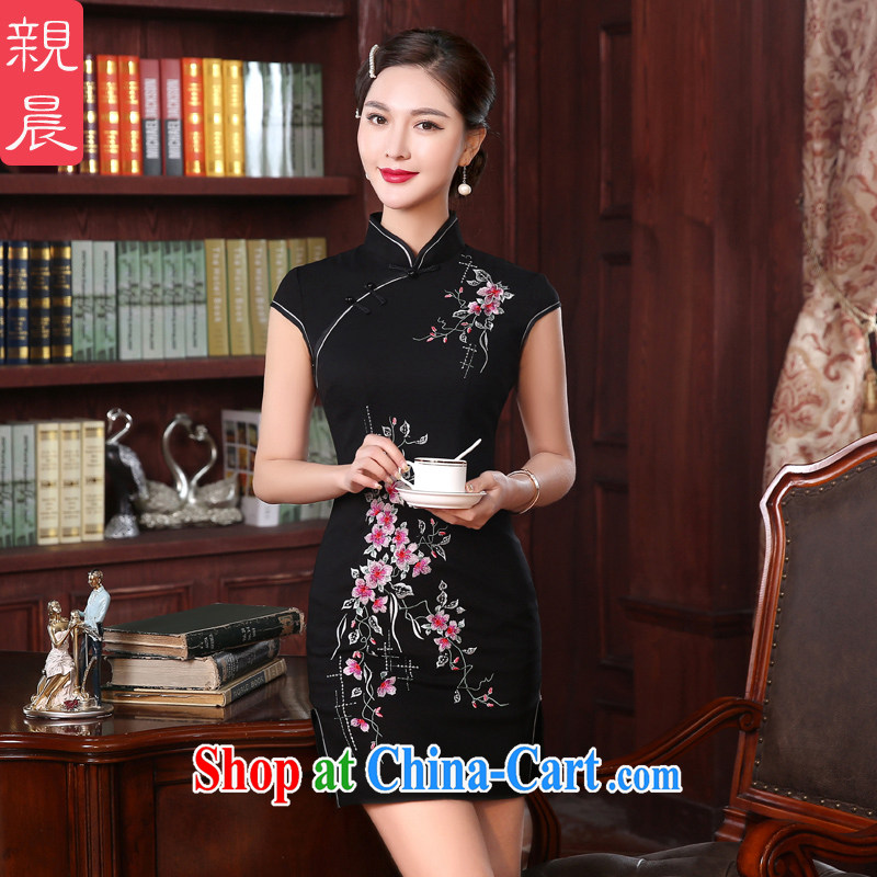 The pro-am every day as soon as possible, spring and autumn temperament improved stylish short, Ms. antique dresses cheongsam dress wedding banquet short 2 XL - waist 80 CM