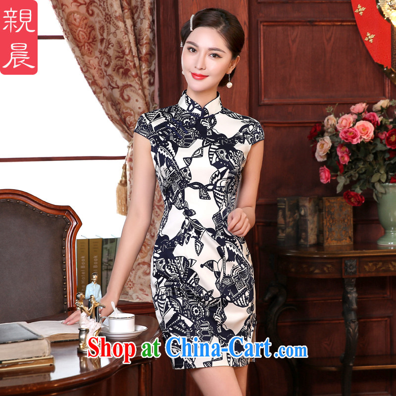 The pro-am summer health daily improved Stylish retro style Ms. dresses cheongsam dress Chinese Dress ceremonial dress short XL - waist 77 CM