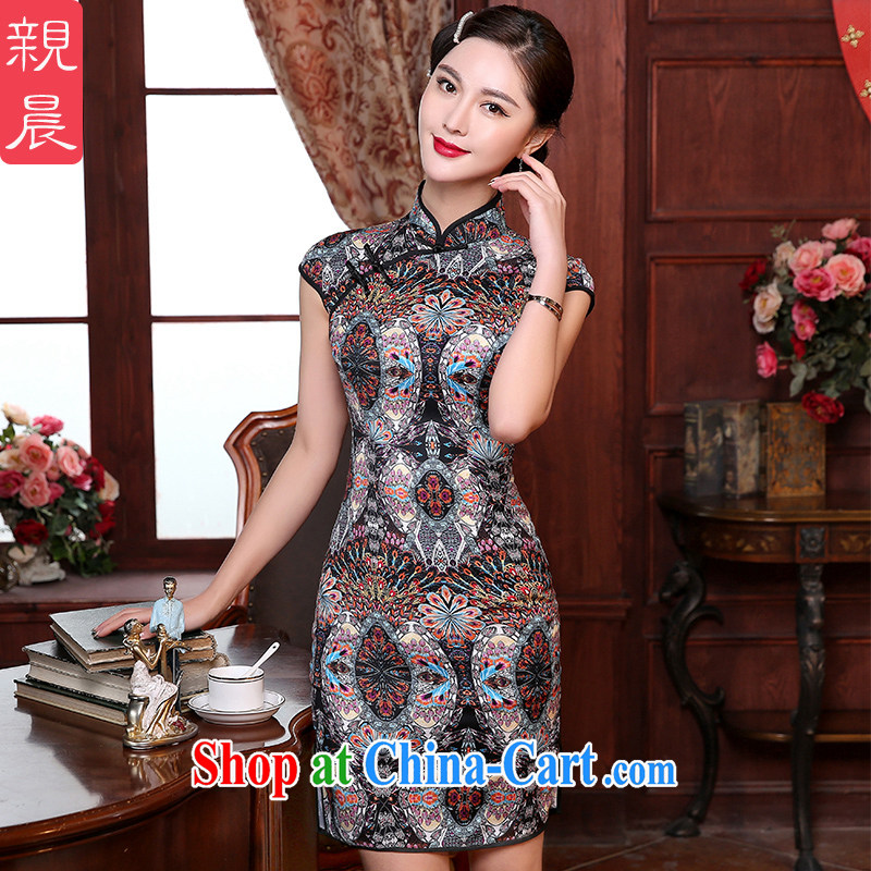 The pro-am summer health daily cultivating improved Stylish retro style dresses wedding mother Chinese cheongsam dress short 2 XL - waist 84 CM