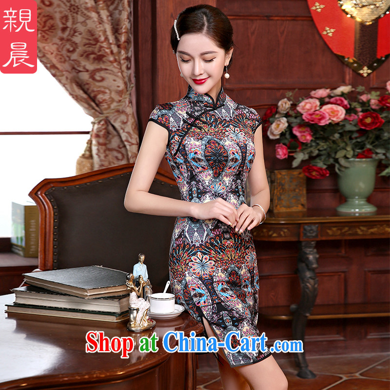 The pro-am summer as soon as possible day cultivating improved Stylish retro style dresses wedding mother Chinese cheongsam dress short 2 XL - waist 84 cm, the pro-am, shopping on the Internet
