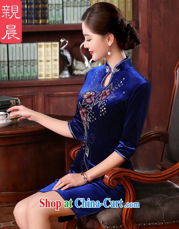 The pro-am day as soon as possible with her mother in the cuff older style improvement Ms. stylish wedding banquet dress cheongsam dress short 2 XL - waist 80 CM