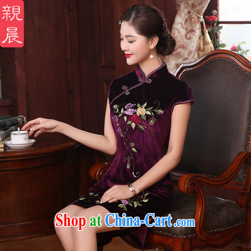 The pro-am every day as soon as possible with her mother wedding wedding banquet retro improved temperament, Ms. old velvet cheongsam dress short 2 XL - waist 80 CM
