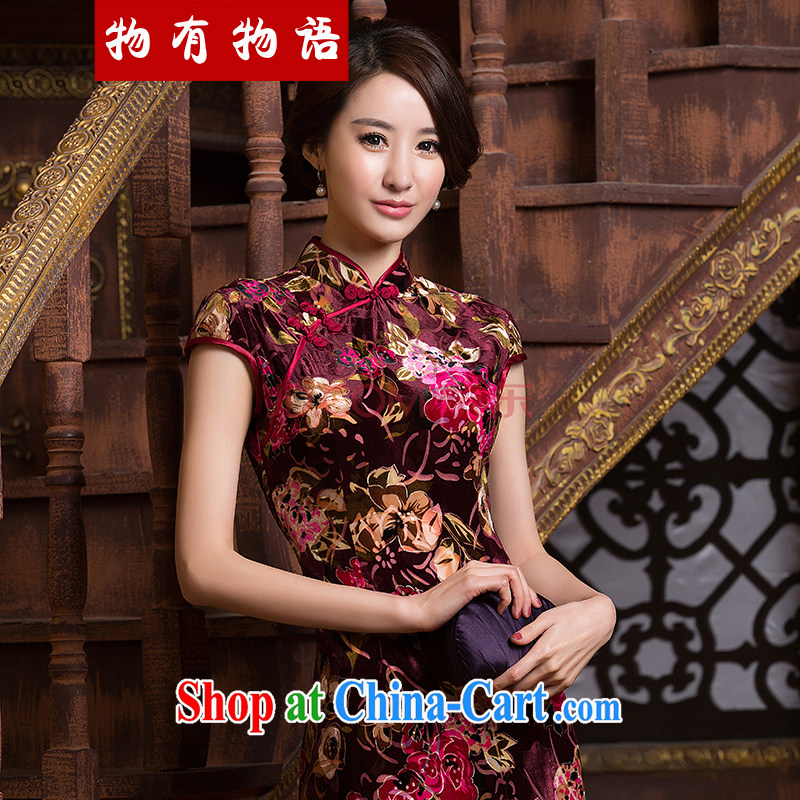 A Chinese qipao improved stylish new 2015 spring sexy beauty daily short-sleeved silk graphics thin short cheongsam dress red XXL