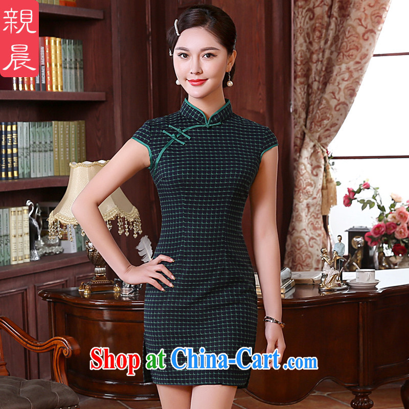pro-am spring and autumn day, retro style improvement Ms. Stylish Girl dresses cheongsam dress wedding banquet short 2 XL - waist 80 CM