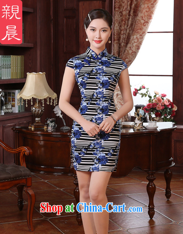 The pro-am 2015 as soon as possible new summer day retro improved stylish short traditional beauty cheongsam dress dresses short 2 XL - waist 80 CM